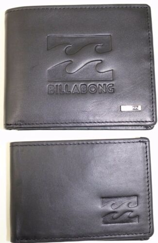 2 In 1 RRP $59.99 NWOT ID Wallet Men/'s Billabong Wave Black Leather Wallet