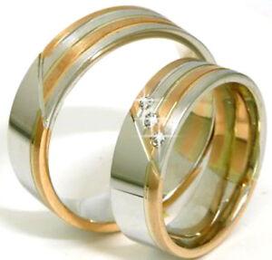 Trauringe-Eheringe-Anfertigung-585-Gold-Weiss-amp-Rotgold-Massiv-mit-Diamanten