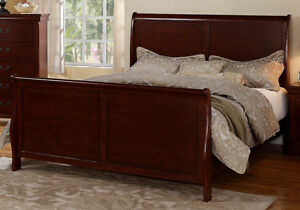 Details About Master Bedroom Curved Headboard Footboard Cherry Wood Queen Sleigh Bed