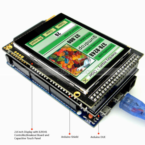 "2.8/""inch TFT LCD Capacitive Touch Shield for Arduino Due,MEGA 2560,Uno w//Library"