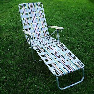 Details about Chaise Lounge Recliner Lawn Chair Plastic Arms Folding  Aluminum Frame Vintage