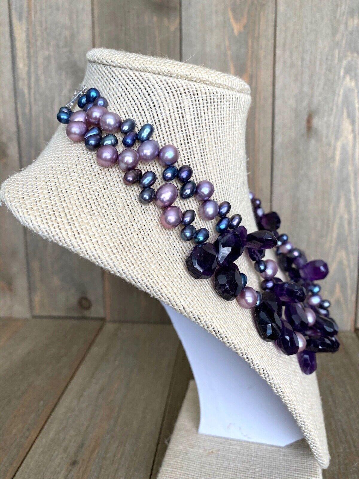 Necklace Amethyst Pearls Cluster Diana Venezia Ra… - image 7