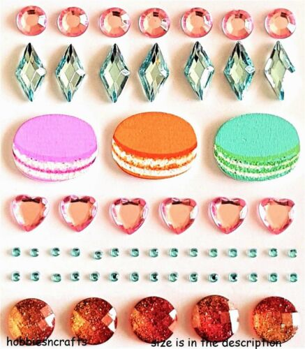 RECOLLECTIONS GEMSTONE /& WOOD 3-D BLING STICKERS MACAROONS /& GEMSTONES