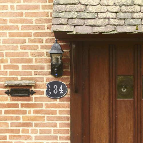 Cat Lover House Number Address Plaque.