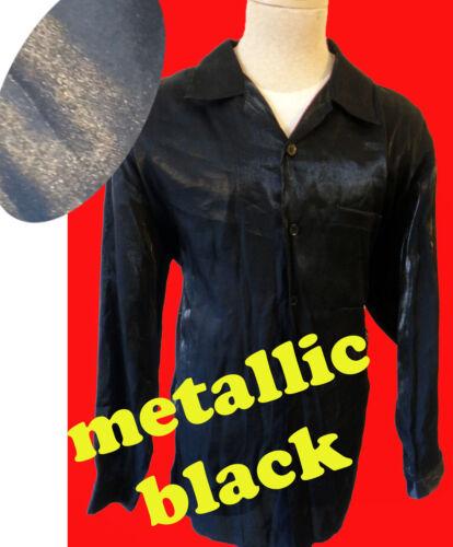 Metallic black matrix club disco shirt XL steampun