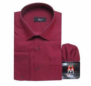 Herren-Hemd-mit-Einstecktuch-Gr-5XL-Bordeaux