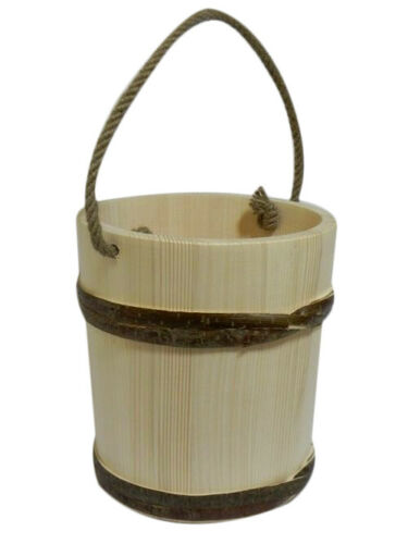 Big wooden seau avec corde poignée 7l-style ancien très solide sauna pot fleurs