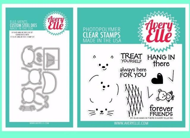 "Avery Elle /""HANG IN THERE/"" Clear Stamp and Elle-ments Die Bundle"