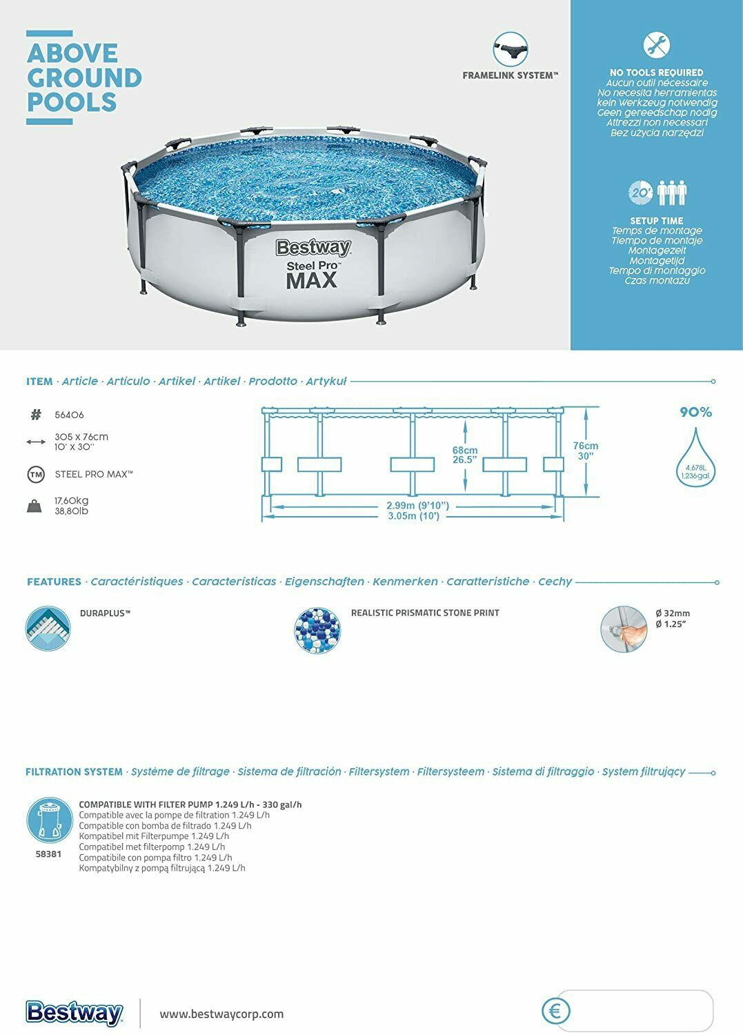 BRAND NEW Bestway Swimming Pool Steel Pro MAX 305 x 76 cm!! ✅ FREE DELIVERY!! 🚚
