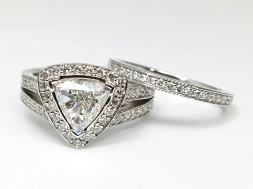 2.75 Ct Trillion Cut Halo Diamond Pave Wedding Engagement Ring In 14k White Gold