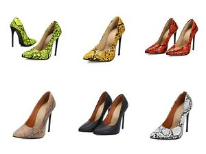 Women-039-s-12cm-High-Heel-Party-Shoes-Snakeskin-Synthetic-Leather-Pointed-Toe-Pumps