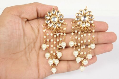 Indian Gold Tone mariage Kundan Pearl Earring Set Traditionnel Bollywood Bijoux