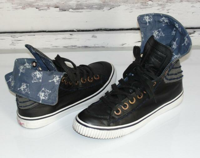 TRUE RELIGION~BLK~LEATHER *HANNABEL* LOGO STITCH~CASUAL HI-TOP SNEAKERS~10 (43)