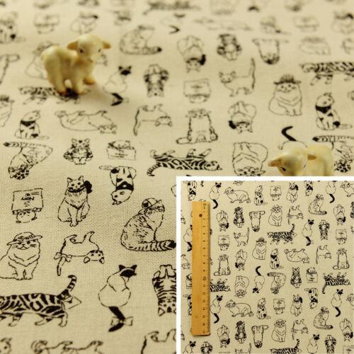 BEIGE Fat Quarter//MeterLinen Hessian Fabric FQ Sew CraftPets Cats Animals