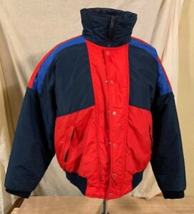 fe3d6913c1 Details about MEN'S RED SKI JACKET PARKA SNOW SIZE L COLOR BLOCK DOWN  INSULATED PUFFER USA