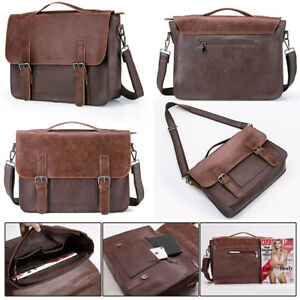 Men-PU-Leather-Vintage-Laptop-Handmade-Briefcase-Shoulder-Bag-Satchel-Messenger