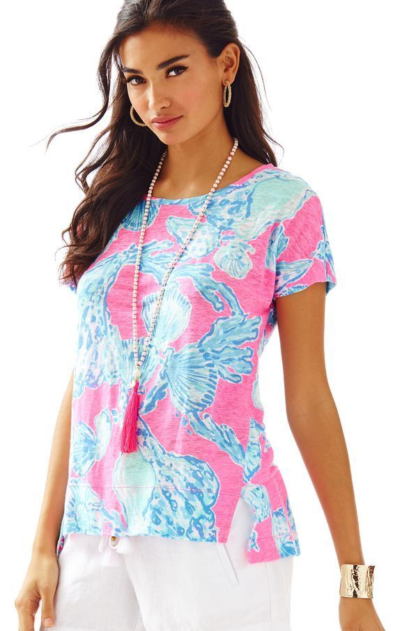 NEW Lilly Pulitzer Mikela Top Rosa Pout Barefoot Princess Blau SHELLS Linen S L