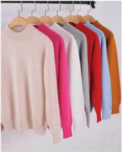 Women-039-s-Slim-Knitted-Half-Turtleneck-Cashmere-wool-Jumper-Pullover-Soft-Sweater