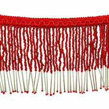 Red Fringe Beaded Upholstery Ribbon Curtain Supply Decorative Craft Trim By 1 Yd
