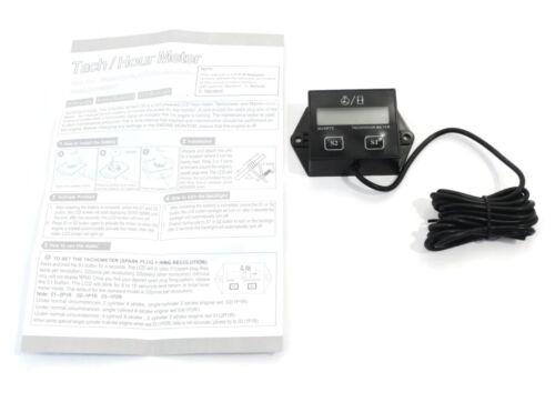 Tachometer w// Replaceable Battery Backlit Waterproof Digital Hour Meter