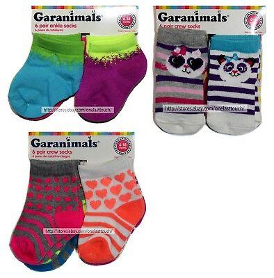 GARANIMALS 6 Pairs FOR GIRLS Infant//Toddler ANKLE+CREW SOCKS New *YOU CHOOSE*