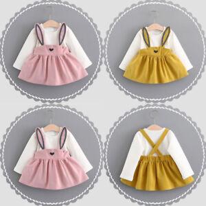 Bebe-Nino-Vestido-nina-infantil-Vacaciones-Conejo-Vendaje-Traje-Mini-0-3-ANOS