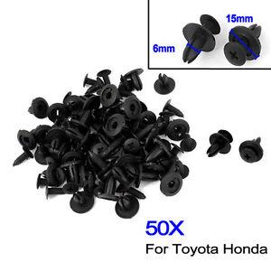 50STK-Kit-Auto-portiere-rivets-Pare-chocs-Clip-de-Fixation-Noir-6mm-trou-Q1