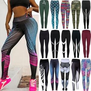 b48519b9abafba HOT Women Printed Yoga Pants Ladies Run Gym Sports Leggings Trouser ...
