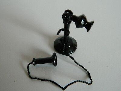 (m4.25) 1/12th Scala Casa Delle Bambole Metallo Nero Telefono In Posizione Verticale-mostra Il Titolo Originale Garantire Un Aspetto Simile Al Nuovo In Modo Indefinibile