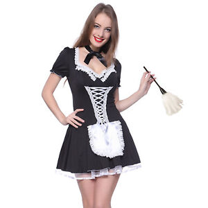 Image is loading Women-French-Maid-Costume-Cute-Outfit-Cosplay-Fancy-  sc 1 st  eBay & Women French Maid Costume Cute Outfit Cosplay Fancy Dress Party M L ...