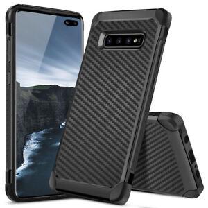 For Samsung Galaxy S10 Plus S10e Hard Phone Case Black Carbon Fiber Tpu Armor Ebay