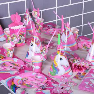 Einhorn theme kinder baby birthday party deko supplies banner gedeckter tisch ebay - Einhorn party deko ...