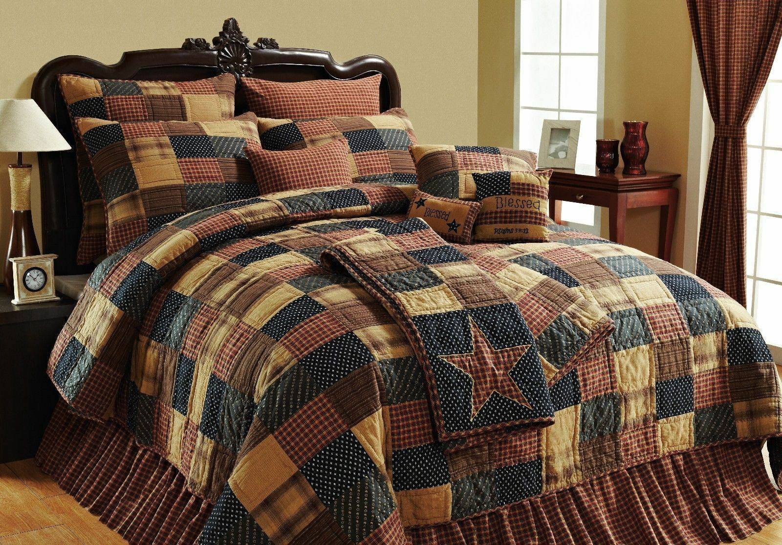Hand Stitched Country Farmhouse Patchwork Quilt rosso blu Tan Patriotic Patch