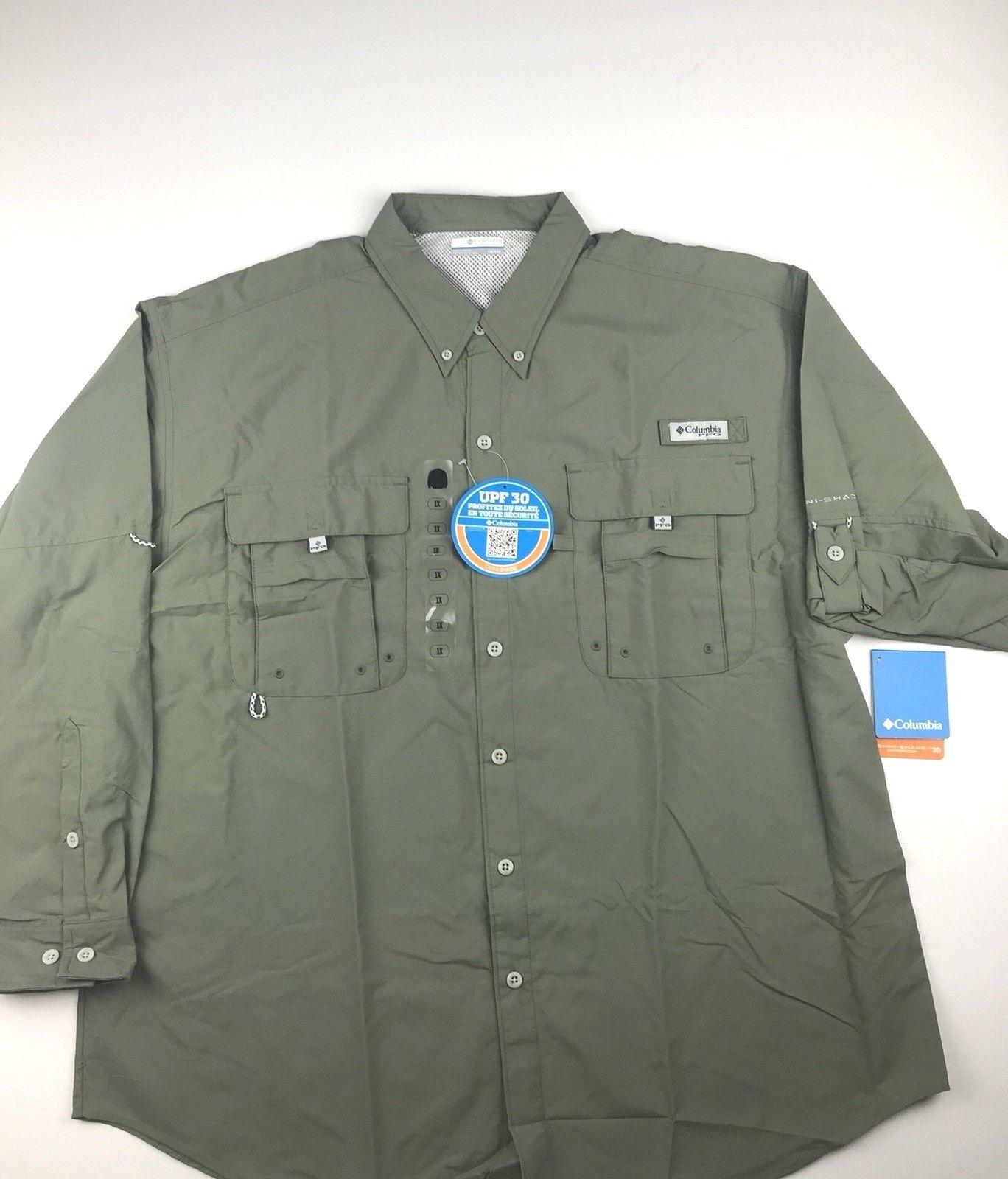 Columbia PFG Mens 1X  Bahama ll verde Roll Up LS Omni Shade Button Shirt NWT