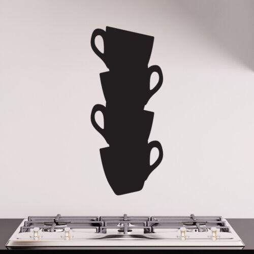 STACK OF CUPS KITCHEN WALL ART STICKER DECAL CAFE RESTAURANT DRINK MUGS c10