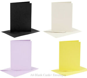 Coloured Cards Crafts Make Greeting Card 6 Pack A6 Blank Cards and Envelopes