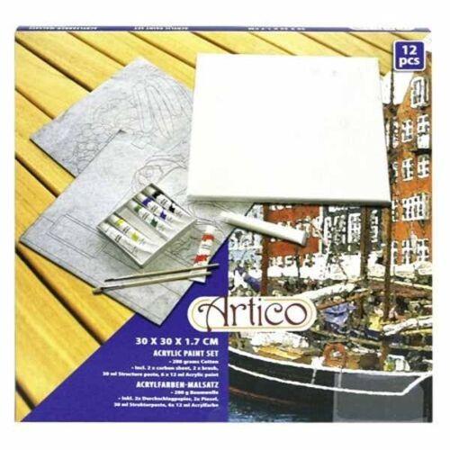Kit 12 Pezzi Attrezzi Per Pittura Dipinto Colori Pennelli Tela 30x30 cm Artico
