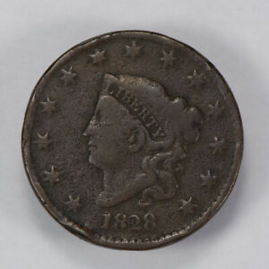 1828 1c CORONET HEAD LARGE CENT, NICE DETAIL EARLY COPPER COIN LOT#N450