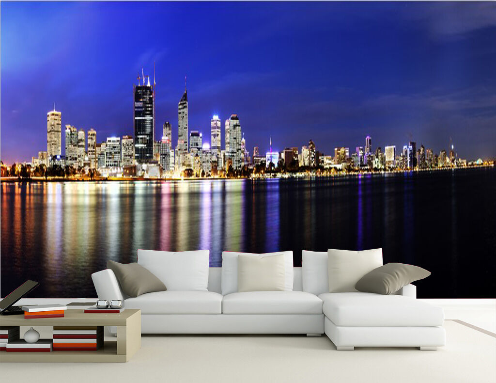 Mega 3D Lights Reflection City Wall Paper Wall Print Decal Wall Deco Indoor Wall