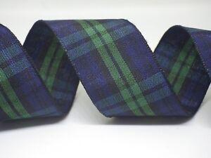 NASTRO-Blu-Verde-Tartan-15mm-o-25mm-in-2m-o-5m-le-lunghezze-di-taglio-SPEDIZIONE-GRATUITA