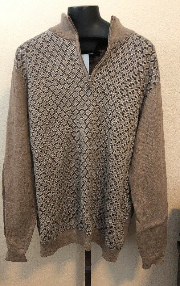 Tasso Elba Men's 1 4 Zip  Cocoa Bean Sweater Size L 416