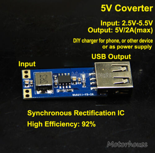 DC-DC Boost Step Up Converter 2.5V-5V 3.7V to 5V 2A USB Charger Power Supply DIY