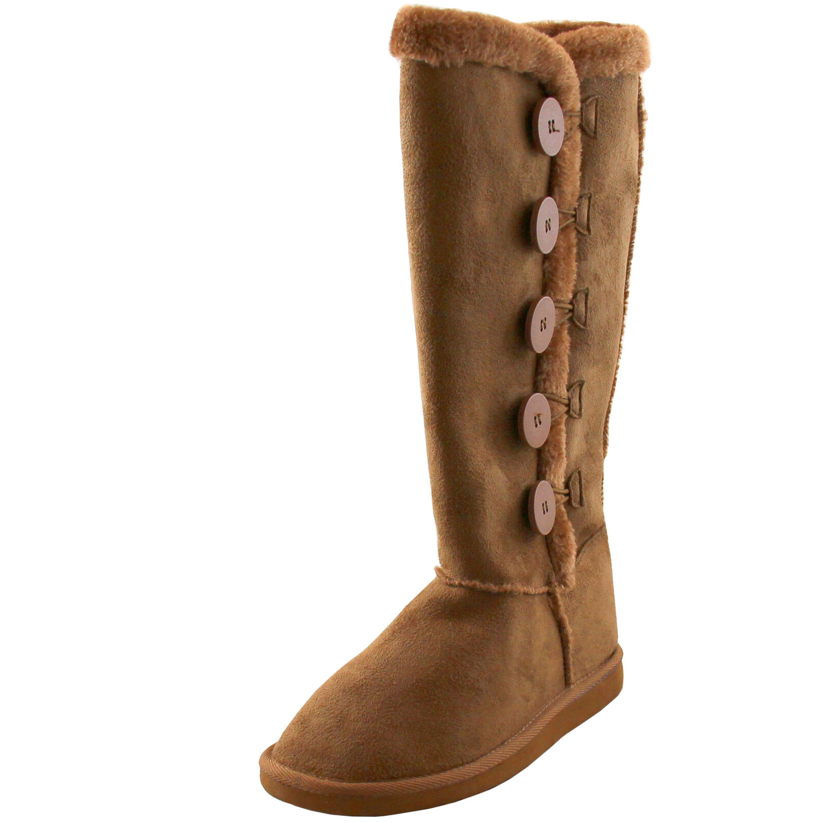 New women's shoes mid shaft boot faux fur synthetic winter warm tan gift idea