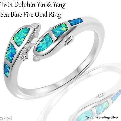 Marine Life Dolphin Pair Harmony Fire Blue Opal Sterling Silver Ring Size 3 - 12