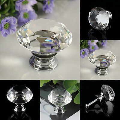 30mm Diamond Clear Crystal Glass Door Pull Drawer Knob Handle Cabinet Furniture#