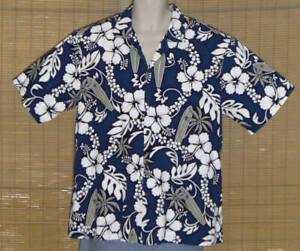 KY's International Fashion Hawaiian Shirt Blue White Floral XL