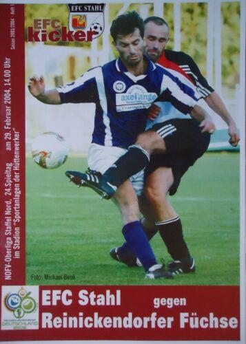 Programm 2003//04 Eisenhüttenstädter FC Stahl Füchse Reinickendorf