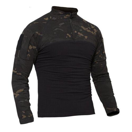 Herren Military Combat T-Shirt Langarm Casual Shirts Freizeit Schwarz Camouflage