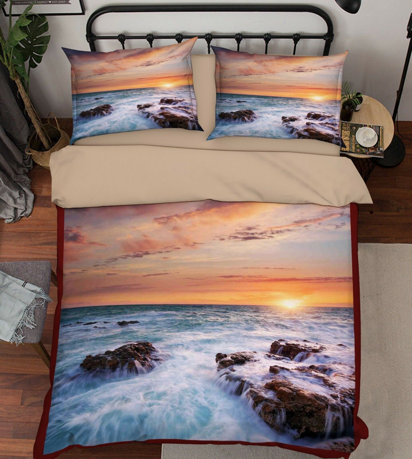 3D Sky Sea Stones 68 Bed Pillowcases Quilt Duvet Cover Set Single King UK Summer