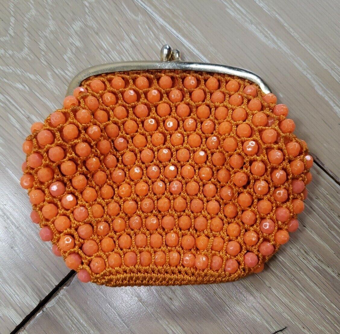 Vintage Bakelite Geometric Beaded Coin Purse Orange Handmade Kiss-lock